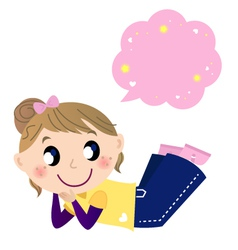 Cute dreaming girl with speech bubble vector