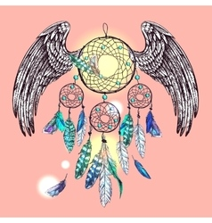 Dream catcher with wings vector