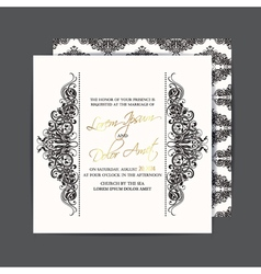 Double sided wedding card black white vector