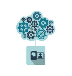 blue camcorder with gears icon vector image