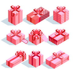 Pink gift boxes with ribbon bows icons set vector