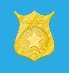 Police officer badge gold emblem vector
