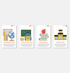 four banner for school education vector image