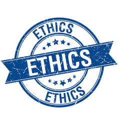 Ethics grunge retro blue isolated ribbon stamp vector