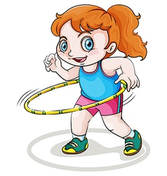 A little Caucasian girl playing with the hulahoop vector image
