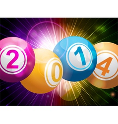 2014 bingo lottery balls on starburst vector image