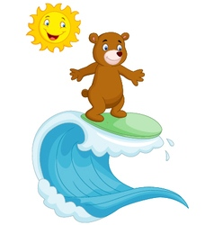 Happy brown bear cartoon surfing vector