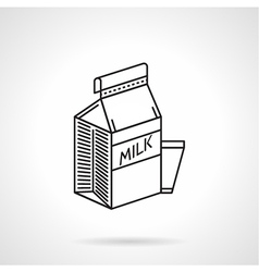 Milk carton black line icon vector