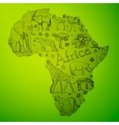 The african continent is filled with doodle vector