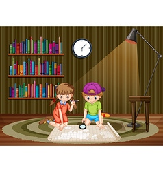 Children looking at map in a room vector image