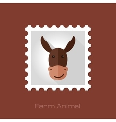Donkey flat stamp animal head vector