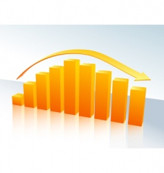 Orange bar graph with arrow vector