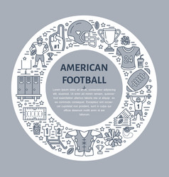 american football banner with line icons of ball vector image