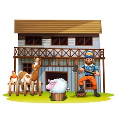 Animals and lumberjack vector image