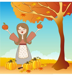 autumn girl with apples and pumpkins vector image