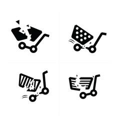 Break shopping cart icons vector