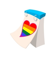 Calendar with rainbow heart cartoon icon vector