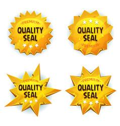 Cartoon gold premium quality seals vector