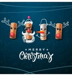 Christmas character Santa Claus snowman reindeer vector image