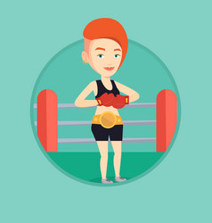 Confident boxer in the ring vector