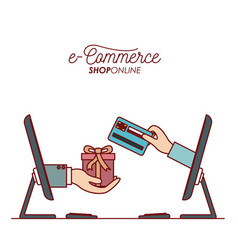 desktop computer with hand holding a gift box vector image vector image