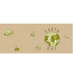 Earth day typography cartoonearth vector