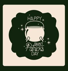 Emblem happy saint patricks day with cauldron in vector