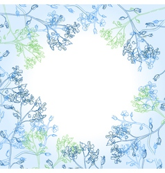 frame with blue flowers vector image vector image