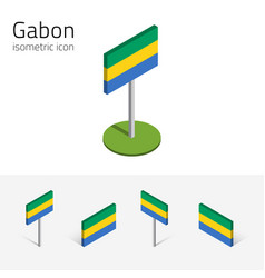 gabon flag set of 3d isometric flat icons vector image vector image