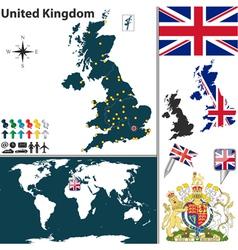 Great Britan map world vector image vector image