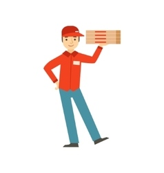 Guy delivering pizzapart of italian fast food vector