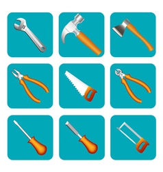 Icon set of tools saw hammer screwdriver vector