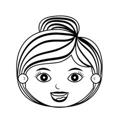 Lady silhouette with hair striped vector