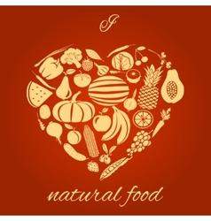 Natural food heart vector image