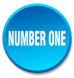 number one blue round flat isolated push button vector image