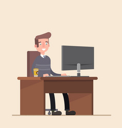 Office worker man behind a desktop vector