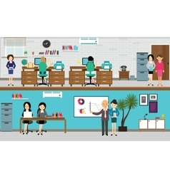 people working at office in flat vector image