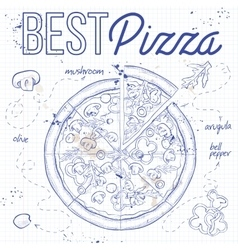 Pizza with mashrooms on a notebook page vector