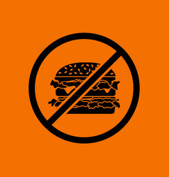 Prohibited hamburger icon vector