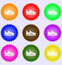 Running shoe icon sign big set of colorful diverse vector
