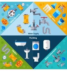 Water supply corners vector