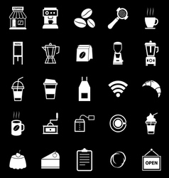 Coffee shop icons on black background vector