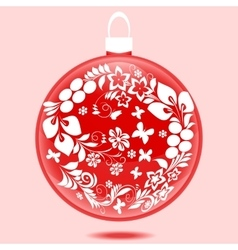 Christmas ball with ornament vector image
