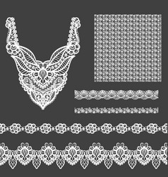 set of decorative lace elements for design and vector image
