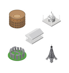 Isometric attraction set of coliseum india mosque vector