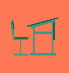 flat icon on stylish background school desk chair vector image