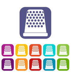 Thimble icons set vector