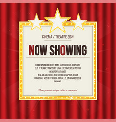 theater sign or cinema sign with stars on red vector image