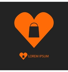 Orange i love shopping logo on black vector
