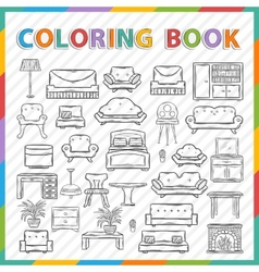 Coloring bookhome interior vector